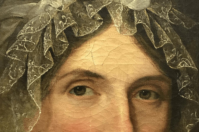 Close-up of portrait showing woman's eyes