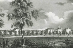 Close-Up of ca. 1836 B & W Print of Waterville-College, ME
