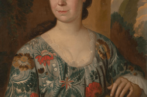 cropped area of 18th-century portrait, highlighting brightly-patterned woman's robe