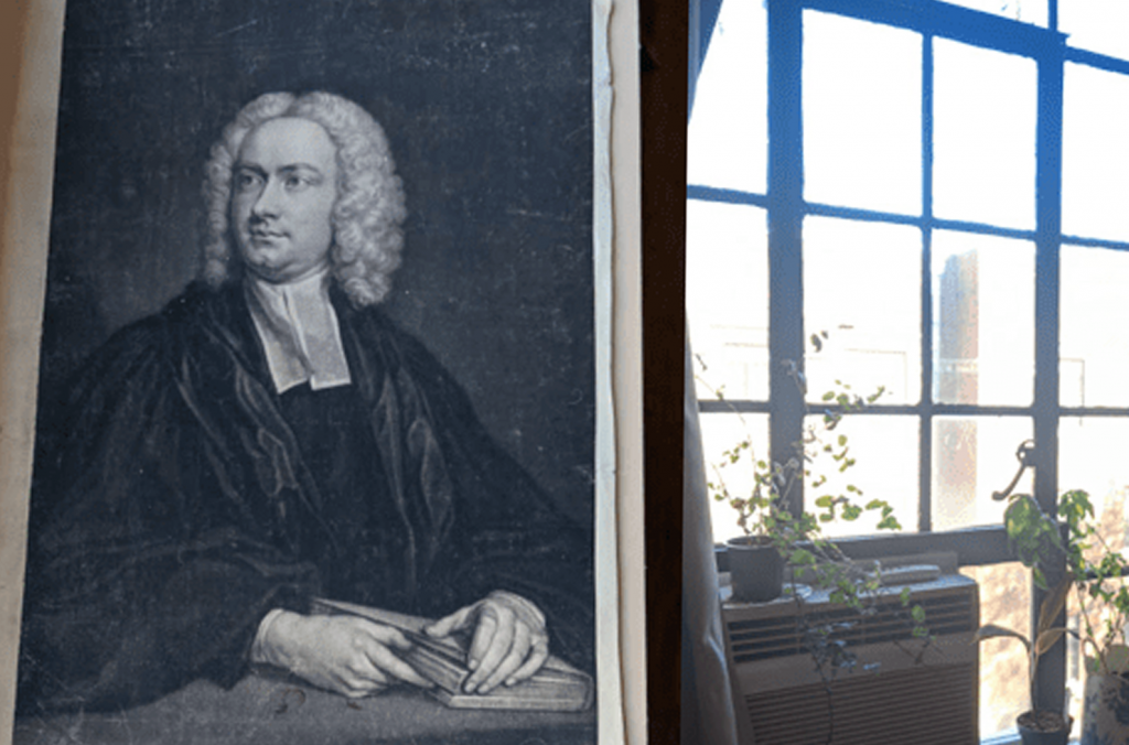 18th-century mezzotint shown next to brighlty-sunlit window